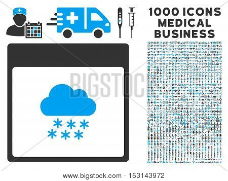 Blue And Gray Snow Cloud Calendar Page glyph icon with 1000 medical business pictograms. Set style is flat bicolor symbols, blue and gray colors, white background.
