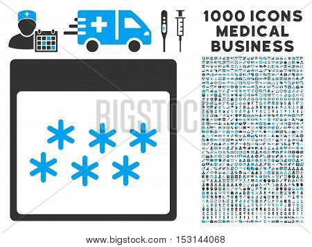 Blue And Gray Snowflakes Calendar Page glyph icon with 1000 medical business pictograms. Set style is flat bicolor symbols, blue and gray colors, white background.
