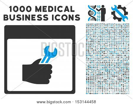 Blue And Gray Spanner Service Hand Calendar Page glyph icon with 1000 medical business pictograms. Set style is flat bicolor symbols, blue and gray colors, white background.