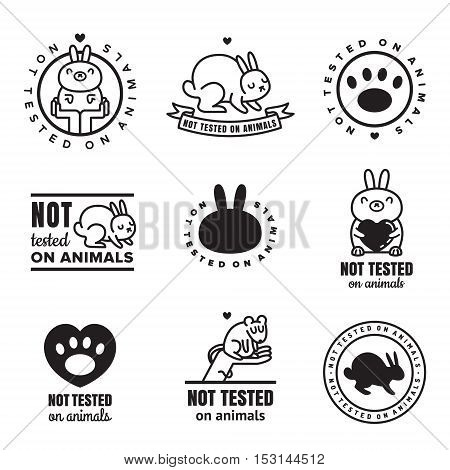 Not tested on animals (cruelty free) cute black icons. Can be used as logo and stickers.