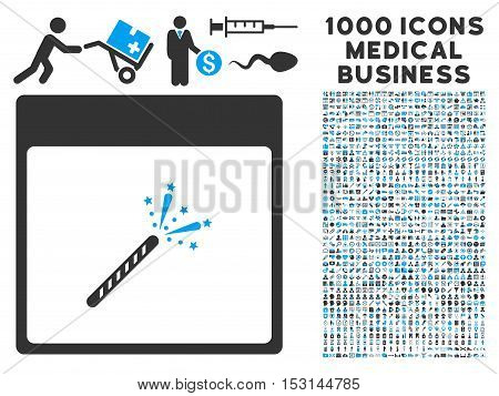 Blue And Gray Sparkler Firecracker Calendar Page glyph icon with 1000 medical business pictograms. Set style is flat bicolor symbols, blue and gray colors, white background.