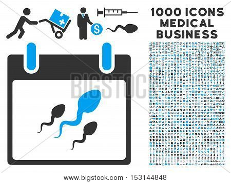 Blue And Gray Sperm Calendar Day glyph icon with 1000 medical business pictograms. Set style is flat bicolor symbols, blue and gray colors, white background.