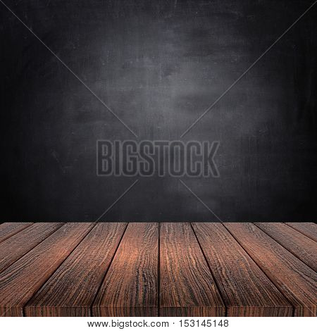 3D render of a wooden table against a chalkboard background