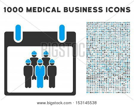Blue And Gray Staff Calendar Day glyph icon with 1000 medical business pictograms. Set style is flat bicolor symbols, blue and gray colors, white background.