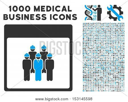 Blue And Gray Staff Calendar Page glyph icon with 1000 medical business pictograms. Set style is flat bicolor symbols, blue and gray colors, white background.