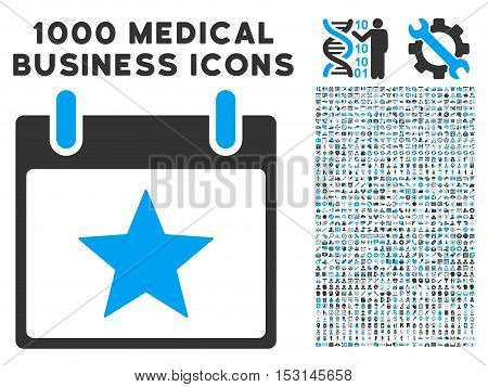 Blue And Gray Star Calendar Day glyph icon with 1000 medical business pictograms. Set style is flat bicolor symbols, blue and gray colors, white background.
