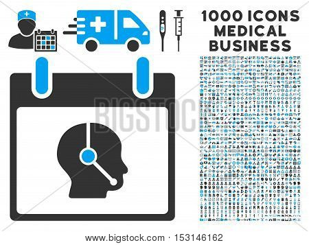 Blue And Gray Telemarketing Operator Calendar Day glyph icon with 1000 medical business pictograms. Set style is flat bicolor symbols, blue and gray colors, white background.
