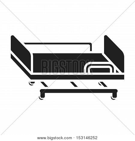 Hospital gurney icon in black style isolated on white background. Medicine and hospital symbol vector illustration.