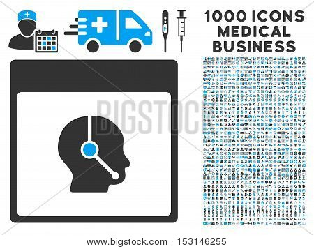 Blue And Gray Telemarketing Operator Calendar Page glyph icon with 1000 medical business pictograms. Set style is flat bicolor symbols, blue and gray colors, white background.