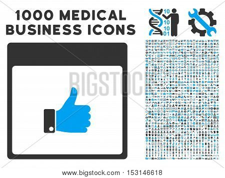 Blue And Gray Thumb Up Hand Calendar Page glyph icon with 1000 medical business pictograms. Set style is flat bicolor symbols, blue and gray colors, white background.