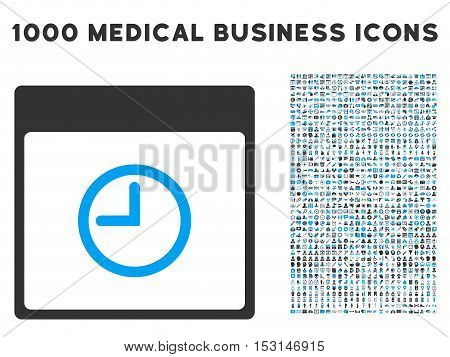Blue And Gray Time Calendar Page glyph icon with 1000 medical business pictograms. Set style is flat bicolor symbols, blue and gray colors, white background.