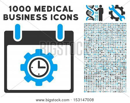 Blue And Gray Time Gear Calendar Day glyph icon with 1000 medical business pictograms. Set style is flat bicolor symbols, blue and gray colors, white background.