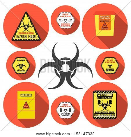 Biohazard - vector isolated icons set with shadow on circle red background.