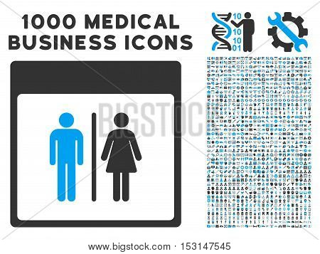 Blue And Gray Toilet Persons Calendar Page glyph icon with 1000 medical business pictograms. Set style is flat bicolor symbols, blue and gray colors, white background.