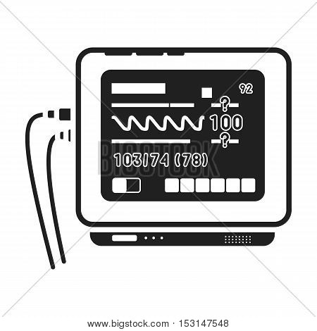 ECG machine icon in black style isolated on white background. Medicine and hospital symbol vector illustration.