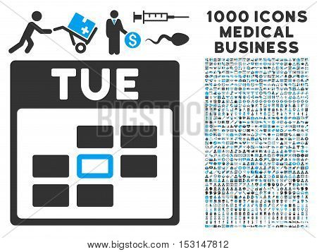 Blue And Gray Tuesday Calendar Grid glyph icon with 1000 medical business pictograms. Set style is flat bicolor symbols, blue and gray colors, white background.