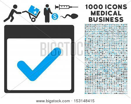 Blue And Gray Valid Day Calendar Page glyph icon with 1000 medical business pictograms. Set style is flat bicolor symbols, blue and gray colors, white background.