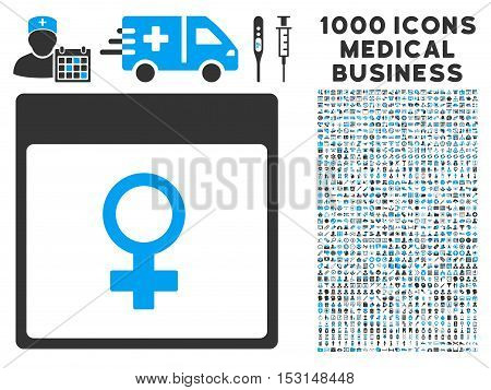 Blue And Gray Venus Female Symbol Calendar Page glyph icon with 1000 medical business pictograms. Set style is flat bicolor symbols, blue and gray colors, white background.