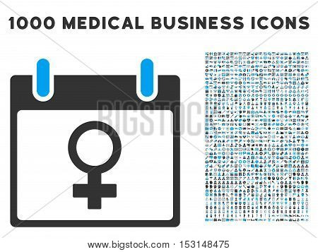 Blue And Gray Venus Female Symbol Calendar Day glyph icon with 1000 medical business pictograms. Set style is flat bicolor symbols, blue and gray colors, white background.