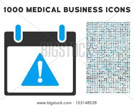 Blue And Gray Warning Calendar Day glyph icon with 1000 medical business pictograms. Set style is flat bicolor symbols, blue and gray colors, white background.