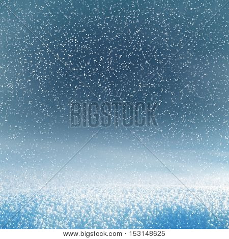 Winter christmas background with shiny snow and blizzard