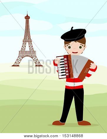 Parisian with accordion and tour Eiffel in background