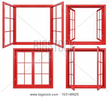 Collection of red window frames isolated on white