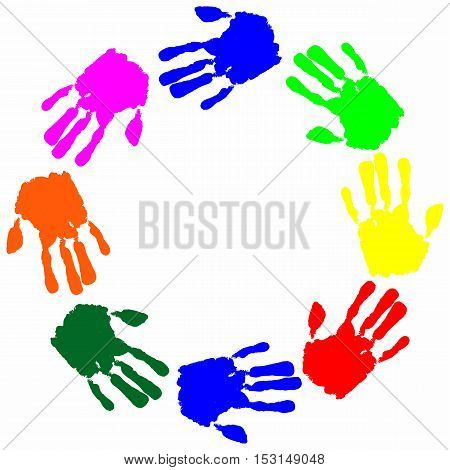 Set watercolor colorful hand print with free place for text vector
