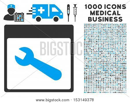Blue And Gray Wrench Tool Calendar Page glyph icon with 1000 medical business pictograms. Set style is flat bicolor symbols, blue and gray colors, white background.