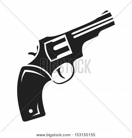 Revolver icon in black style isolated on white background. Wlid west symbol vector illustration.