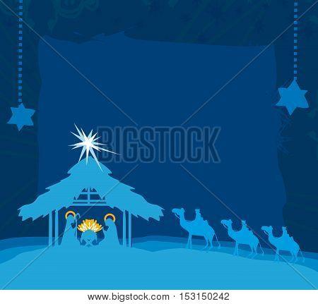 birth of Jesus in Bethlehem card , vector illustration