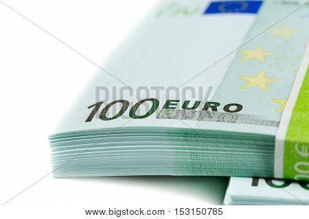 stack of banknotes 100 euros isolates on white