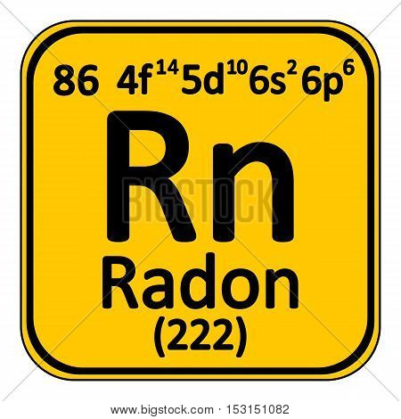 Periodic table element radon icon on white background. Vector illustration.