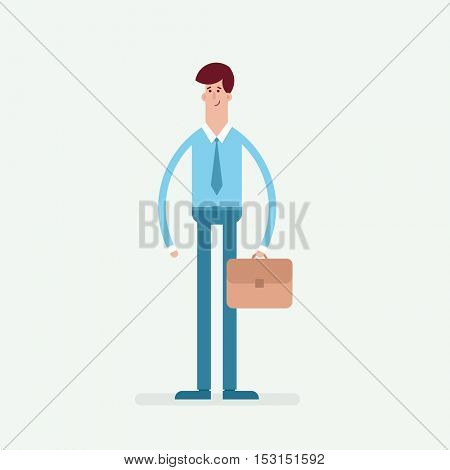 Flat character. Businessman with briefcase