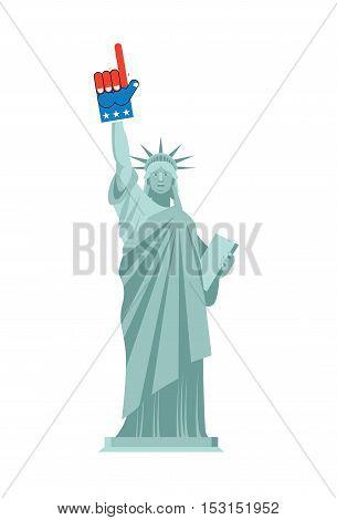 Statue Of Liberty And Foam Finger. Landmark Us Keeps On Hand Sports Sign. Patriotic America Illustra
