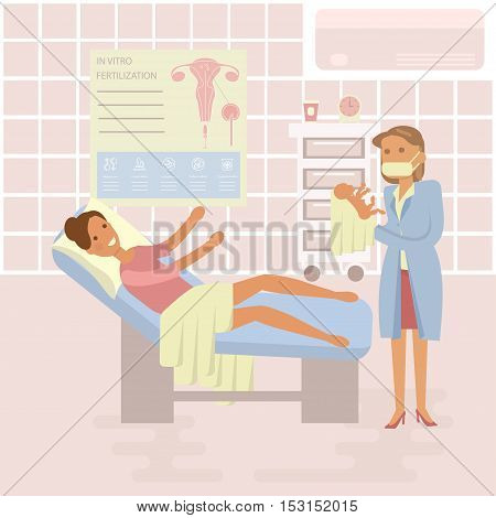 Happy family concept. Woman gives birth to a child. Midwife, baby on Maternity ward background. Gynecology, childbirth, People in flat design. Cartoon characters, illustration vector eps10