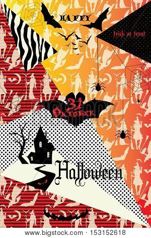 Halloween. Happy Halloween greeting card with Halloween symbols. Vector illustration. Hand drawn. Halloween Party invitation. Halloween flayer, poster, cover, title, banner, greeting card. Halloween Sale. Halloween Advertising.
