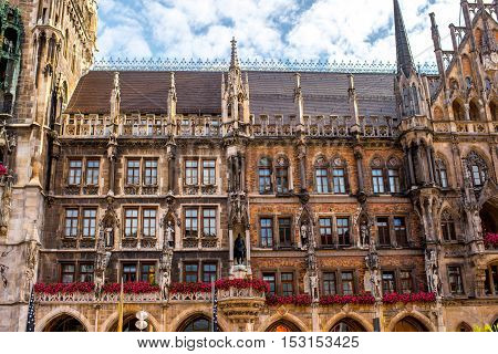 Close-up view on the town hall's facade on Mary's square in Munich, Germany