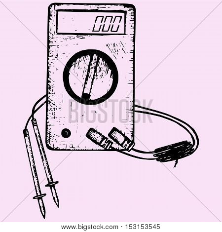 Digital multimeter with wires shows 0 volts on LCD display. Electronic multimeter doodle style sketch illustration hand drawn vector