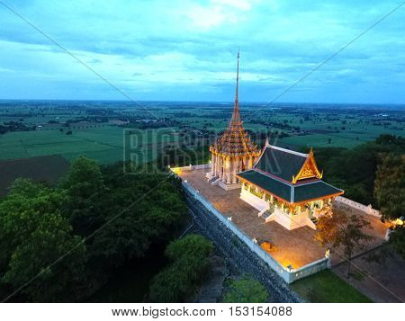 The temple is located on a high mountain in Thailand, Suphanburi, Province District U- Tong The temple name