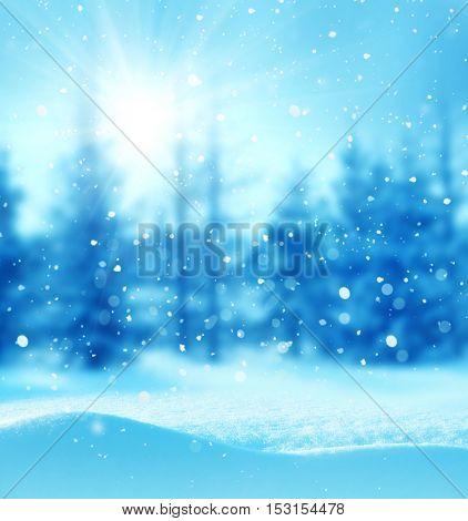 Merry christmas and happy new year greeting card with copy-space. Christmas  background. Winter landscape with snow and christmas trees