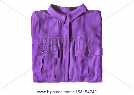 Folded purple silk shirt isolated over white