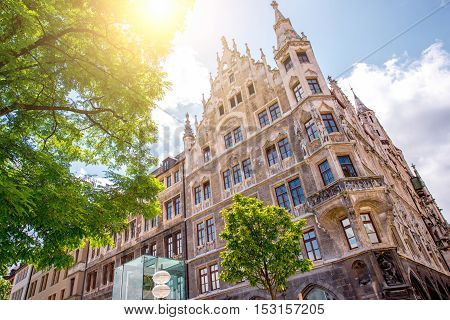 Backside of the main town hall building in Munich, Germany