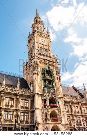 Close-up view on the clock tower of the main town hall on Mary's square in Munich, Germany
