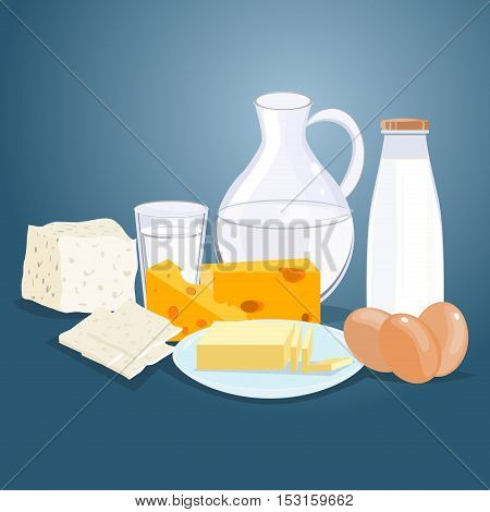 Dairy products. Milk products. Farm products diet nutrition drink. Cheese milk cottage cheese yogurt dairy products. Vector flat cartoon illustration