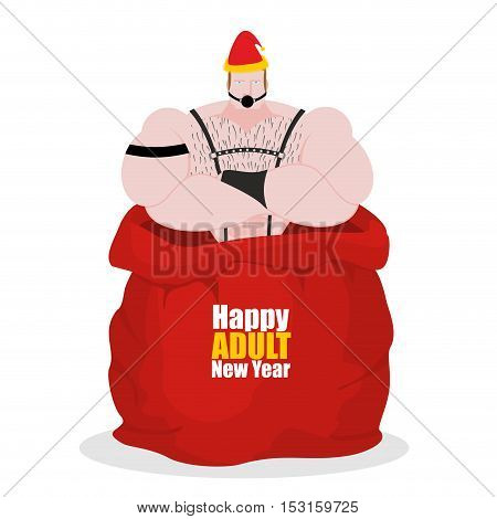 Adult New Year. Bdsm Slave In Red Sack Of Santa Claus. Adult Gift For Host. Sadist And Masochist. Bi