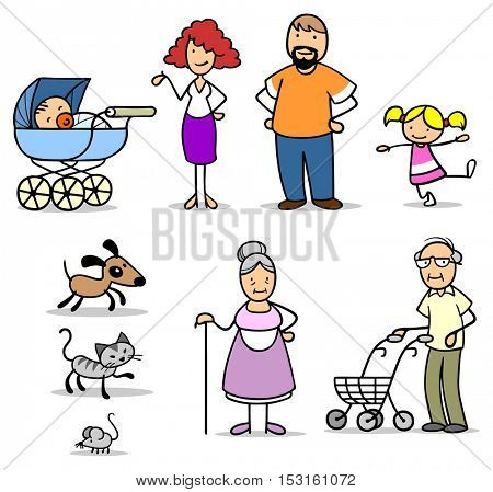 Family illustration set with seniors, childern, mother, father, dog and cat