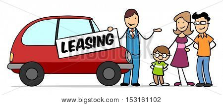 Cartoon family thinking of car lease at car dealer
