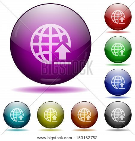 Upload to the internet color glass sphere buttons with sadows.