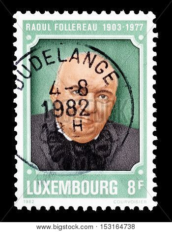 LUXEMBOURG - CIRCA 1982 : Cancelled postage stamp printed by Luxembourg, that shows Raoul Follereau.